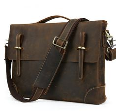 Image of Handmade Vintage Genuine Leather Briefcase Messenger Bag Laptop Bag(C19)
