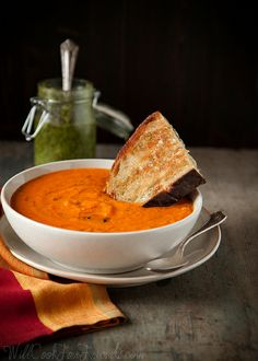Garden Fresh Tomato Basil Soup, with Pesto Grilled Cheese Sandwiches