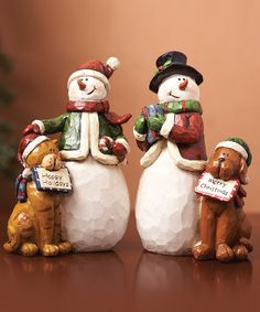 Take a look at this Cat, Dog & Snowman Figurine Set by Transpac Imports on #zulily today!