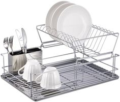 This 2-Tier Dish Rack will make a snazzy addition to any house. It has a 2-tier design with slots for dishes as well as a separate silverware cup. It has a chrome finish with a stainless steel tray so you can achieve a cool modern look.
