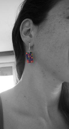 polymer clay multicolor pattern earrings by LaSolis  follow me on Facebook: www.facebook.com/handmadebylasolis Polymer Clay, Handmade Jewelry, Gems, Facebook, Stone, Earrings, Silver, Pattern, Schmuck