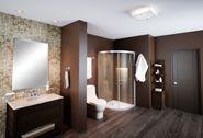 Ambienta tu baño creando un interesante contraste de tonos neutros, un gabinete con frentes de madera sobre una malla ocre y tablones cerámicos para revestir el piso darán a este espacio un estilo único.