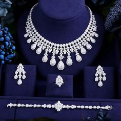 HKD 705.58 11% Off | janekelly Luxury cubic zirconia necklace bracelet earrings and ring 4pcs dubai full jewelry set for women,bridal dress dinner Indian Jewelry Earrings, Jewelry Design Earrings, Bridal Earrings, Necklace Designs, Bridal Jewelry, Jewelery, Wedding Jewelry Sets, Jewelry Accessories, Diamond Necklace Set