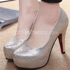 Women's Shoes Stiletto Heel Round Toe Pumps/Heels Dress Silver/Gold - USD $27.99