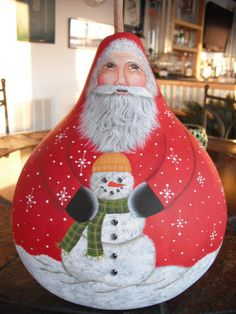 """I Love Cindy's painting ....10-1/2 inches tall and 7-1/2"""" in diameter gourd painted by Cindy McKinney"""