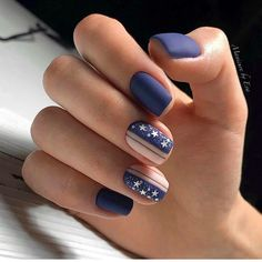 90 Inspirational Blue Nail Art Designs and Ideas Spring 2018 Square Nail Designs, Cute Nail Art Designs, Blue Nail Designs, Short Nail Designs, Dark Blue Nails, Nail Art Blue, Multicolored Nails, Super Nails, Trendy Nails