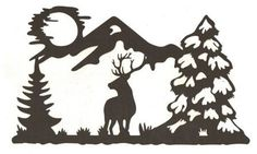 Deer in the woods silhouette