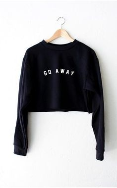 Go Away Cropped Sweater - Black