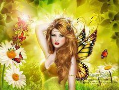 Digital Fantasy Art in Yellow My Fantasy World, 3d Fantasy, Fantasy Fairies, Fantasy Artwork, Magical Creatures, Beautiful Creatures, Beautiful Fairies, Fairy Art, Mellow Yellow