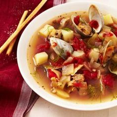 Manhattan Clam Chowder. There's long been a feud between Manhattan's tomato-based clam chowder and the cream-based New England style clam chowder. No matter which you prefer, you can't deny that this easy clam chowder will put dinner on the table before you can finish the debate! YUM!!!