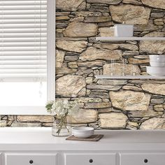 Brewster Home Fashions 'Hadrian' Stone Reusable Peel & Stick Vinyl Wallpaper Sold Out at HauteLook Nu Wallpaper, Stone Wallpaper, Wallpaper Samples, Peel And Stick Wallpaper, Brick Wall Wallpaper Kitchen, Wallpaper Ideas, Stone Wall Design, Feature Wall Design, Kitchen Backsplash Peel And Stick