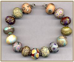 15 Softly Etched Organic Handmade Glass Lampwork Beads Handmade :) ♥♥♥