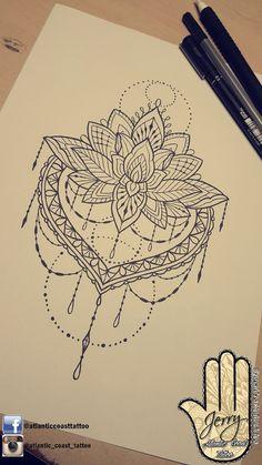 Beautiful lotus mandala tattoo idea design for a thigh arm by dzeraldas jerry kudrevicius from Atlantic Coast tattoo. Lace mandala tattoo pretty. #TattooIdeasDibujos