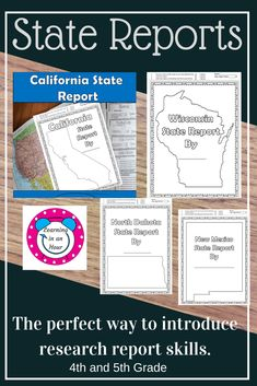 Individual State Reports and bundle now available. Easy to grade with points at the top of each page. Writing Resources, Learning Resources, Teacher Resources, Teacher Pay Teachers, Social Studies Notebook, American History Lessons, 5th Grade Classroom, Project Based Learning, Teaching Tips