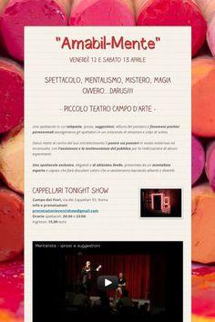 """http://www.darus.it """"Amabil-Mente"""" lo spettacolo di mentalismo di Darus al Piccolo Teatro Campo d'Arte di Roma il 12 e 13 aprile in Campo dei Fiori. http://magodarus.wordpress.com"""