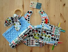 Baby Boy Sushi Gift Set - Bib, Burp Cloth, Crinkle Teether w/ Maple Teething Ring, and Crinkle / Sensory Toy with Ribbons