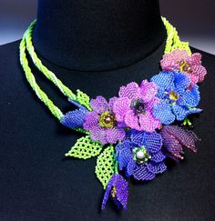 One of a kind beaded necklace with purple flowers and pearls - Handmade