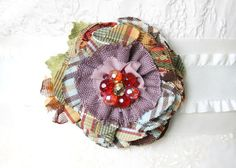 Colorful Fabric Flower Pin, Textile Brooch, Flower Pin, Textile Jewelry