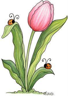 SPRING FLOWER AND LADYBUG CLIP ART