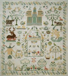 STUNNING! 2011 LARGE COMPLETED CROSS STITCH SAMPLER ANTIQUE DUTCH STYLE FINISHED