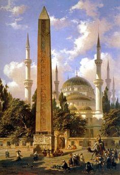 Ahmet mosque with egyptian column - Istanbul !Sultan Ahmet mosque with egyptian column - Istanbul ! Islamic Architecture, Art And Architecture, Islamic Paintings, Art Asiatique, Turkish Art, Magic Carpet, Ottoman Empire, Art Plastique, Islamic Art