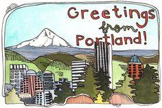 """Greetings from Portland!"" illustration by Michele Maule Wengen Switzerland, Startup, Postcard Design, Adventure Tours, Portland Oregon, Greeting Cards, Illustration, Prints, Etsy"