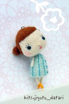Hitsujigoto Datari cute kawaii needle felt doll pendant for brooch or necklace design, textile art jewellery for quirky ,kitsch , kooky fashion lovers