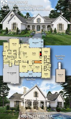 Plan New American farmhouse plan with shared bedroom layout # . Plan New American Farmhouse Plan with split bedroom layout # Family House Plans, Ranch House Plans, New House Plans, Dream House Plans, Dream Houses, Country House Plans, House Plans With Pool, Southern Home Plans, House Design Plans