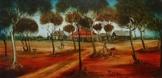 The Homestead 1988 Australian Painting, Australian Artists, Australian Desert, Aussie Christmas, Ouvrages D'art, Seascape Paintings, Folk Art, Awesome, Artwork