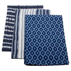 """This product is sold in sets of 3.Add artful appeal to your dinner prep with this cotton dishtowel, showcasing a rich blue pattern for a pop of color.  Product: Set of 3 dish towelsConstruction Material: CottonColor: Blue and whiteFeatures: Striped and geometric motifs Dimensions: 26"""" x 18""""Cleaning and Care: Machine wash. Tumble dry low."""