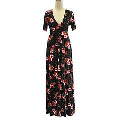 9c3279d1361 Women s Plus Size Boho Maxi Swing Dress Print Deep V Summer Black 4XL XXXXXL  XXXXXXL