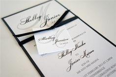 Simple elegant black and white wedding invitation - Little Paper Store