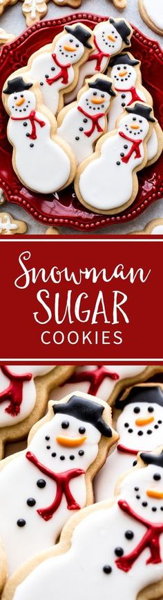 Learn how to make adorable snowman and snowflake sugar cookies with royal icing! Christmas cookies recipe on sallysbakingaddiction.com