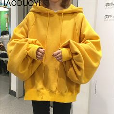 Plus Size Oversized Hoodie Women 2017 New Autumn Black Yellow Red Hip Hop Cropped Warm Fleece Loose Pullovers Hooded Sweatshirt #Brand #Haoduoyi #sweaters #women_clothing #stylish_dresses #style #fashion