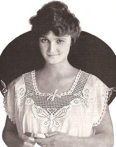 Vintage Butterfly Filet Crochet Nightgown Yoke