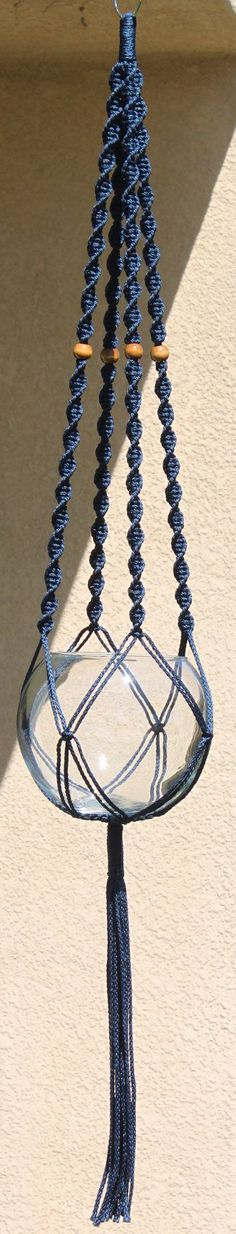 HELIX Blue Handmade Macrame Plant Hanger by ChironCreations | Want to make a crocheted hanging bowl, but instead of plants, I want stacking ones for fruit in the kitchen. KITCHEN HERBS