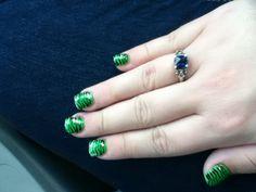 Lime green zebra nails :3