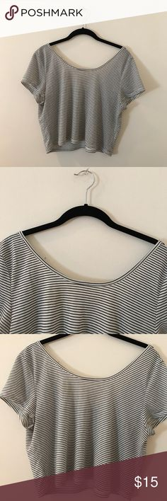 Cold shoulder crop top Super cute striped crop top. A little off the shoulder and cry soft material American Eagle Outfitters Tops Crop Tops