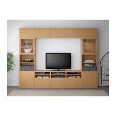 BESTÅ TV storage combination/glass doors - Lappviken/Sindvik oak effect clear glass, drawer runner, soft-closing - IKEA