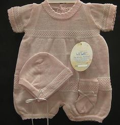 NWT! Will'beth Boutique Knit Newborn Pink Romper Baby Girl Booties Hat Reborn
