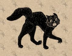 Halloween Spooky Black Cat Image Instant Download Digital printable clipart graphic scrapbooking transfer burlap fabric tote towels HQ300dpi by UnoPrint on Etsy