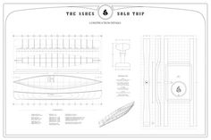 Canoe plans for a 15' Solo Tripping Canoe. Moderate rocker and flare coupled with elegant lines and efficient hull. Suitable for cedar strip construction