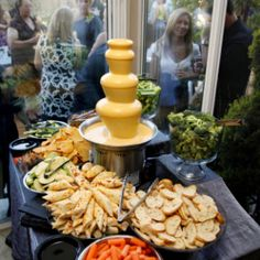 nacho cheese fondue anyone? from a wedding coordinated by Pop The Champagne Even… nacho cheese fondue anyone? from a wedding coordinated by Pop The Champagne Events popthechampagneev… Chocolate Fondue Bar, Chocolate Fountain Recipes, Chocolate Fountains, Chocolate Cheese, Cheese Fountain, Fondue Fountain, Beer Cheese, Nacho Cheese, Cheese Table