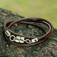 Men's leather wrap bracelet, 'Trio in Brown'