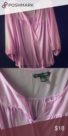 AMERICAN EAGLE OUTFITTERS SHEER TOP 3/4 SLEEVE TEE AMAZING LIGHT PURPLE COLOR SHEER TOP BOTTOM COTTON MATERIAL EUC ELASTIC SLEEVES AND WAIST STAYS PUT BUT FLOWY FIT American Eagle Outfitters Tops Blouses