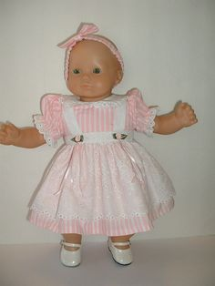 Pink striped eyelet pinafore dress Valentine fits Bitty by patwise, $17.99