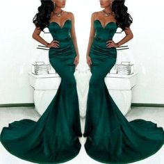 Sirène Sexy vert foncé robes de soirée 2015 Simple Style chérie Satin robe de bal formelle parti robes Custom Made(China (Mainland))