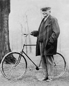 Man With Bike Vintage Bicycle 8x10 Reprint Of Old Photo