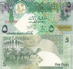 Qatar`s currency is the riyal. Their notes include animals like camels and birds. This is their 5 riyal notes. Other than green, the riyal notes are also pink, orange and blue. This relates to the middle east because Qatar is located there. Arabian Oryx, Money Notes, Old Money, National Museum, Digital Collage, Girl Scouts, Vintage World Maps, Middle East, Palm Trees