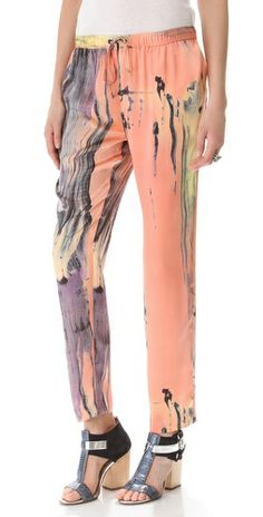 A painterly brushstroke print adds an artistic feel to a pair of slouchy silk pants from Elizabeth and James.